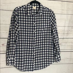 J.Crew blue and white checkered button down shirt